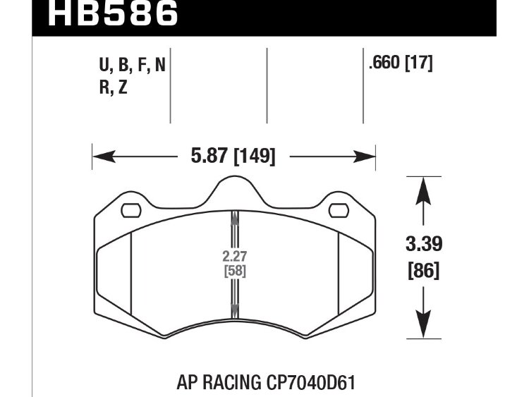 Колодки тормозные HB586N.660 HAWK HP Plus AP Racing CP7040, CP9040; 17mm